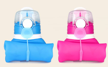 650ML Squeeze Silicone Water Bottle / Silicone Collapsible Water Bottle For Sport Use