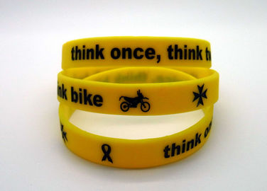 Ink Filled Promotional Printed Silicone Wristbands With Debossed Logo , CE Specification